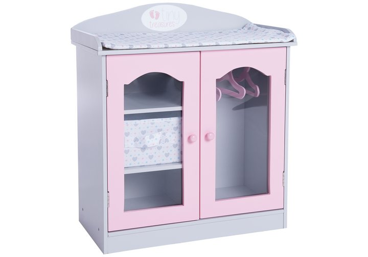 Chad Valley Tiny Treasures Wooden Wardrobe with Change Mat