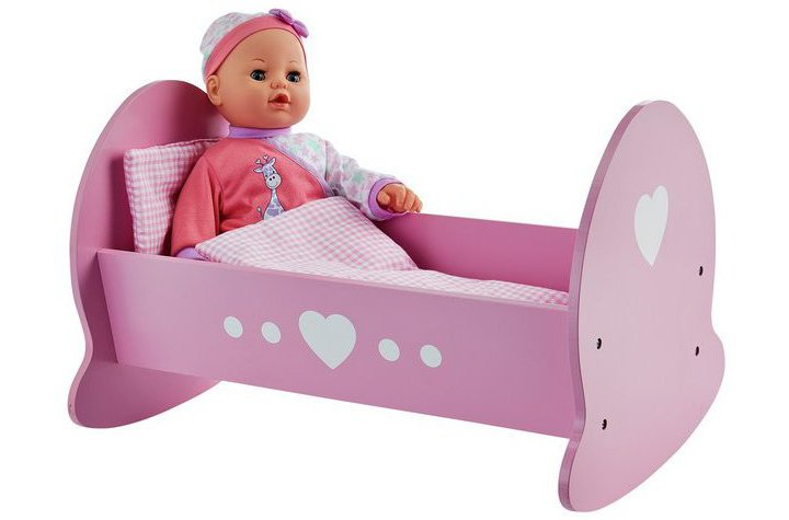 Chad Valley Babies to Love Wooden Doll's Crib and Blanket
