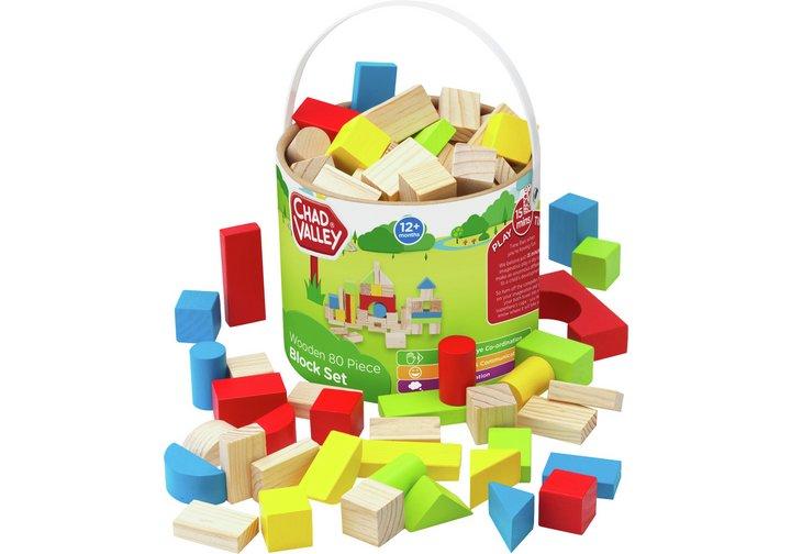 Chad Valley PlaySmart Wooden Block Set - 80 Pieces