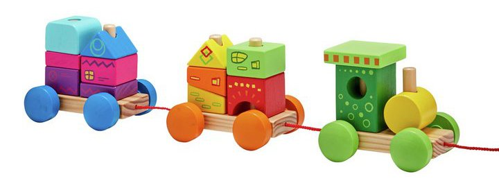 Chad Valley Stacking Blocks Wooden Train