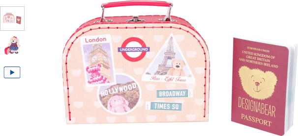 chad valley design-a-bear teddy travel suitcase & passport