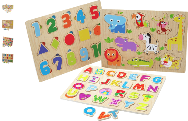 chad valley playsmart 3 pack wooden puzzles