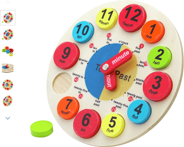 chad valley playsmart wooden clock