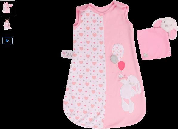 chad valley tiny treasures sleeping bag & bunny comfort toy