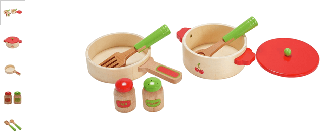 chad valley wooden pots and pans