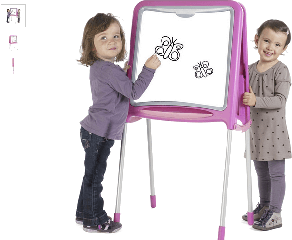 smoby metal drawing board - pink