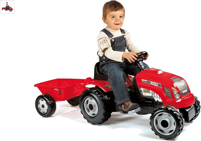 smoby red tractor with trailer