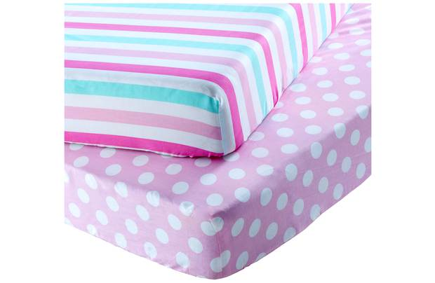 /pre-school/chad-valley-stripe-and-spot-fitted-sheets-toddler