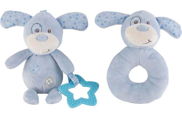 /baby/chad-valley-baby-ring-and-teether-blue-puppy
