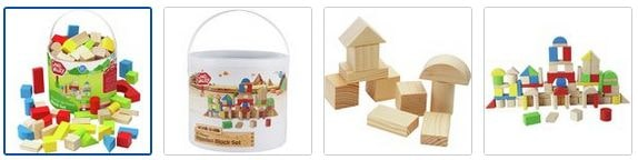 Chad Valley PlaySmart Wooden Block Set - 80 Pieces Images
