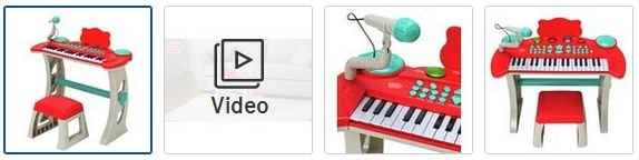 Chad Valley Keyboard Stand and Stool - Red Images