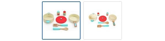 Chad Valley Wooden Pots and Pans Playset Images