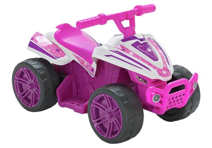 Chad Valley Baby 6V Powered Quad Bike - Pink & White Stars