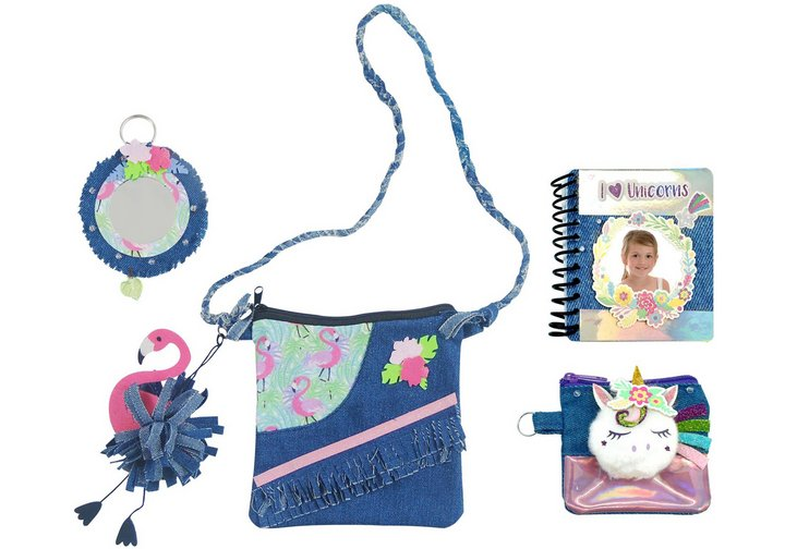 Chad Valley Be U Flamingo and Unicorn Denim Bag Set