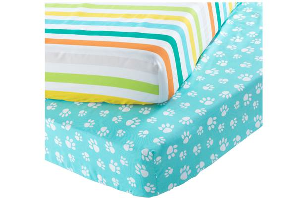Chad Valley Stripe And Paw Print Fitted Sheet Toddler