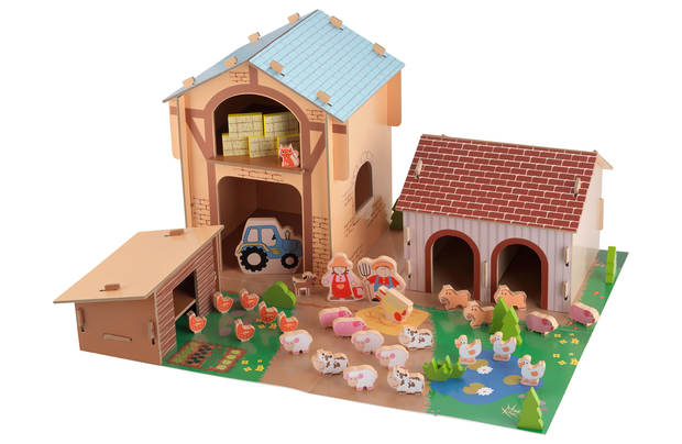 Chad Valley Wooden 50 Piece Farm Set