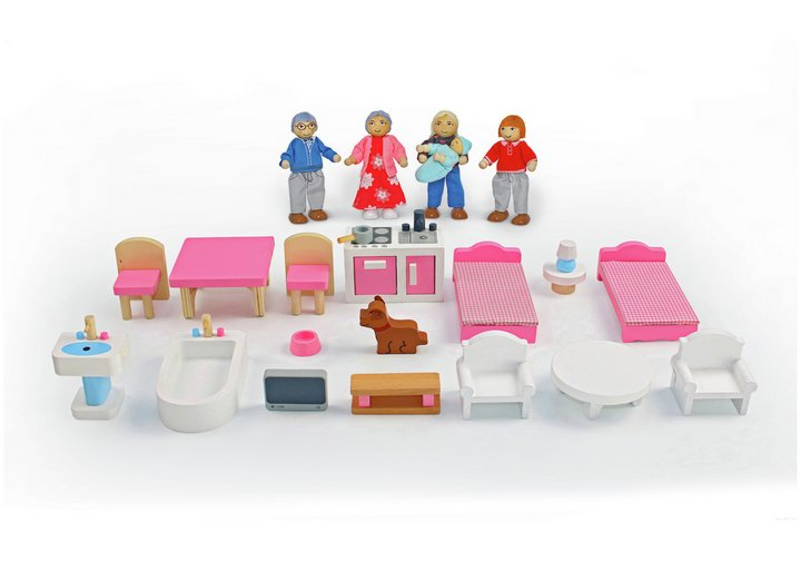 Chad Valley Wooden Dolls House Family Furniture Playset