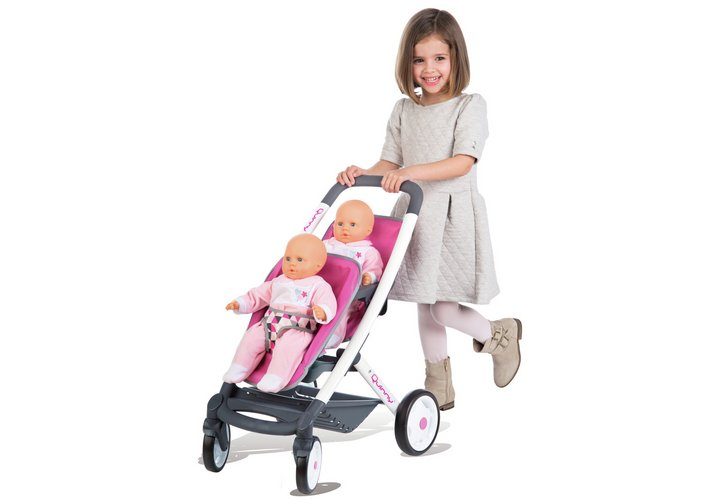 smoby maxi-cosi quinny twin 3 wheel dolls pushchair