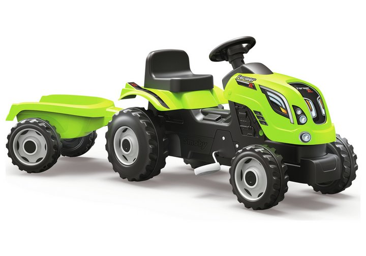 smoby tractor with trailer - green
