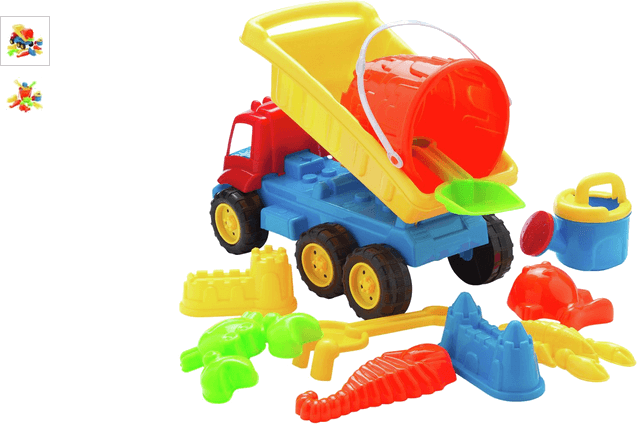 Chad Valley 11 Pieces Sand Truck Bucket and Spade Set