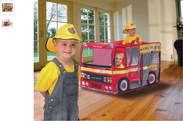 Chad Valley Pop Up Fire Engine Play Tent With Hat