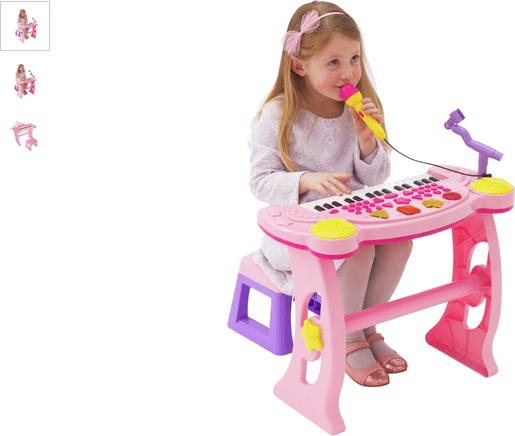 Chad Valley Sing Along Keyboard, Stand and Stool - Pink