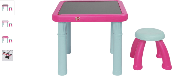 chad valley sit and draw play table - pink and blue