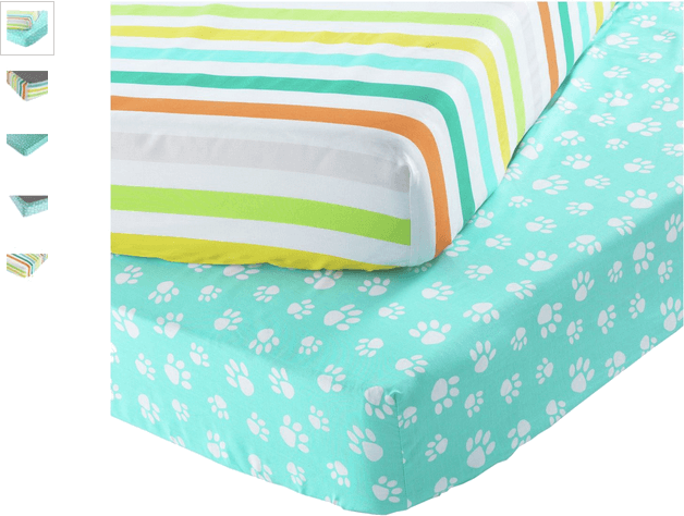 Chad Valley Stripe and Paw Fitted Sheets - Toddler
