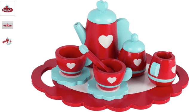 chad valley wooden tea set - red